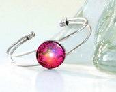 Red Bracelet, Chakra Art, Reiki Energy Jewelry, Silver Wire Cuff