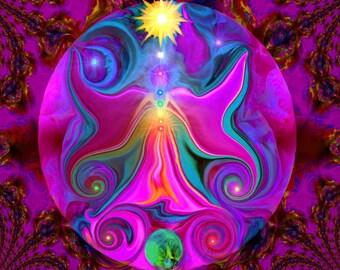 Chakra Angel Energy Art, Reiki Abstract Art Print Balance Sun Moon Earth