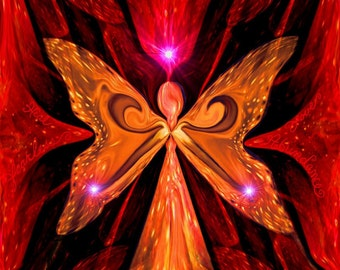 "Angel Art, Red Root Chakra Print, Spiritual Wall Decor ""Illumination in Red"""