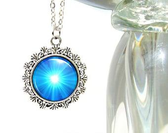 Cobalt Blue Chakra Necklace, Silver Pendant Starburst Reiki Energy Pendant