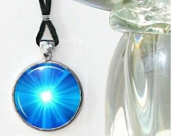 Blue Necklace, Chakra Starburst, Reiki Attuned Art, Throat Chakra Truth
