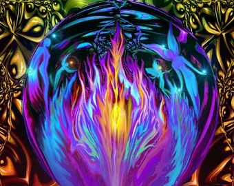 "Violet Flame Art, Fairies Fantasy World, Purple Rainbow Reiki Print ""Transmutation"""
