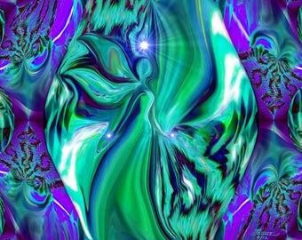 Abstract Angel Art, Green Purple Wall Decor, Reiki Energy Art print