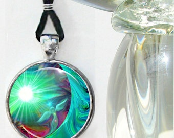 Green Heart Chakra Necklace Angel Art Reiki Jewelry Round Silver