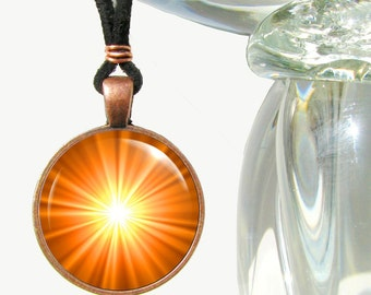 Orange Necklace, Chakra Jewelry, Reiki Energy Pendant Necklace