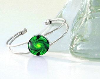 Heart Chakra Bracelet, Green Swirl Art, Silver Cuff, Reiki Attuned