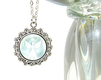 """White Angel Art Necklace, Reiki Energy Pendant, Crown Chakra Jewelry """"The Vision"""""""