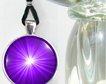 Purple Jewelry, Starburst Third Eye Chakra Necklace, Reiki Energy Pendant