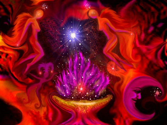Red Angel Art, Violet Flame, Spiritual Energy Decor, Transformation Print