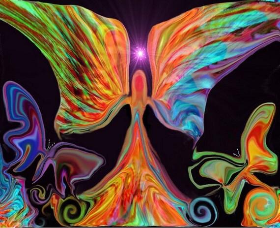 Angel Art, Reiki Butterflies, Energy Art Print Psychedelic Wall Art