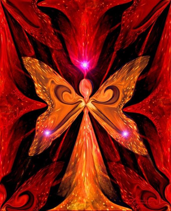 Chakra Abstract Angel Energy Art Red Orange Reiki Wall Decor 8 x 10 Print