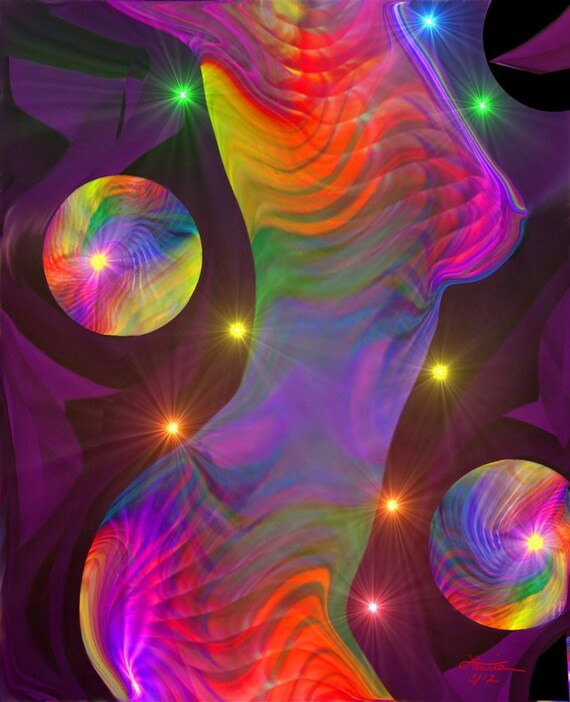 Chakra Art Female Rainbow Wall Decor Reiki Energy Art Print