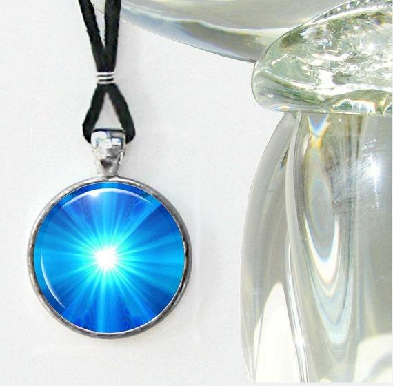 Chakra Necklace Blue Reiki Jewelry Energy Pendant Necklace