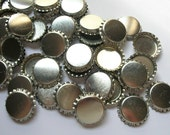 50 Bottle Caps, Scratched, bottle caps for bows, hair bow supplies, hairbow supplies, bow making 1 inch bottle caps, silver blank bottle cap