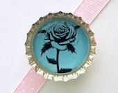 Rose Blue Paris Bottle Cap Magnet - rose wedding favor, blue wedding, rose decor, gift under 5 dollars, paris theme party, paris party favor