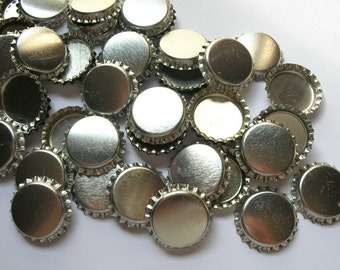 25 Bottle Caps, Scratched, bottle caps for bows, hair bow supplies, hairbow supplies, bow making 1 inch bottle cap, silver blank bottle caps