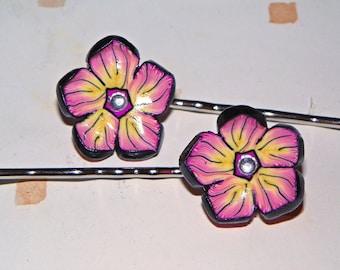 Tropical flower hair pins - set of 2