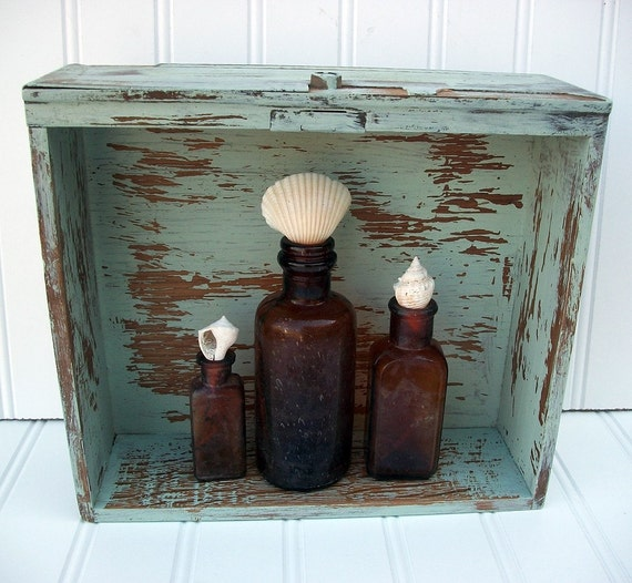 Beach Cottage - Shabby Shadow Box And Amber Apothecary Bottle Collection And Sea Shell Stoppers