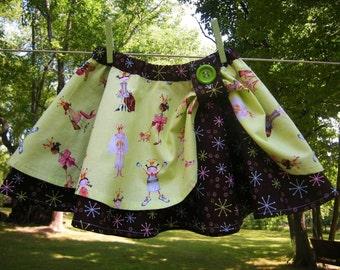 Girls Handmade Cotton Circle Skirt, Lime Green Girl and Retro Brown Starburst Print, Size 4