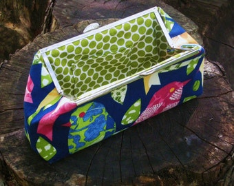 Navy Blue Bird Cotton Clutch with Metal Frame and Green Polka Dot Lining