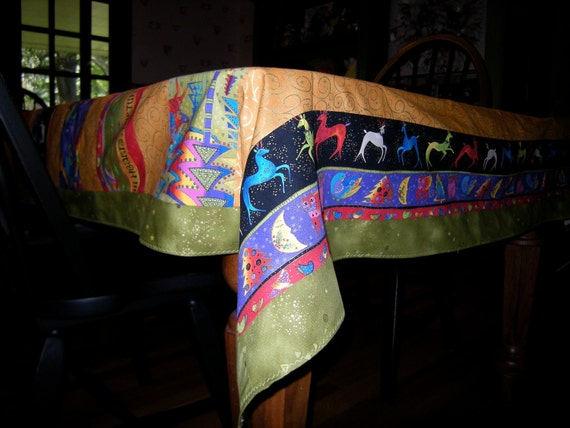 Holiday Tablecloth, Cotton, Handmade, 57X57 Inches, Features Laurel Burch Fabric