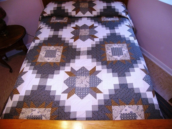 Bed quilt full or queen civil war reproduction fabrics blues browns ivories