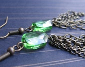 Emily - Peridot Swarovski Crystals and Vintage Brass Chain - EARRINGS
