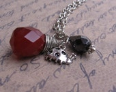 Little Lady - Facetted Opaque Red Quartz Teardrop and Ladybug Charm - NECKLACE