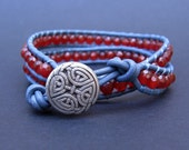 Leather Wrap Bracelet (2x) - Crimson Red Agate & Pewter Gray Leather, Antique Celtic Knot Closure - by We Are 1