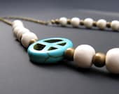 Turquoise Peace, White Wood, Brass Spacers & Brass Chain - NECKLACE