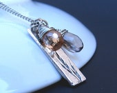 Smoky Quartz, Apricot Cubic Zirconia, Wild Oats Solid Sterling Silver Pendant, Silver Wire Wrap, Silver Chain - NECKLACE