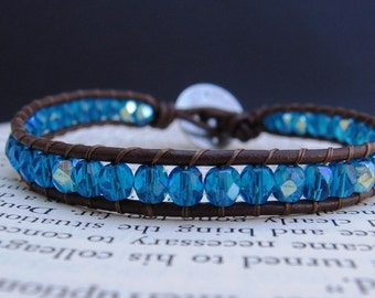 Leather Wrap Bracelet (1x) - Capri Blue Fire Polished Czech Beads & Brown Leather, Silver Scroll Closure - by We Are 1