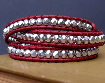 Leather Wrap Bracelet (3x) - Czech Fire Polished Silver Beads & Crimson Red Leather, Silver Flower Closure - by We Are 1