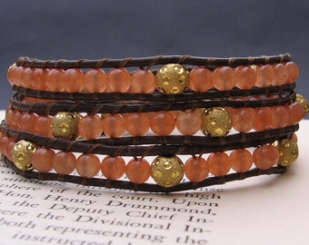 Leather Wrap Bracelet (3x) - Peach Aventurine & Gold Stardust, Brown Leather, Gold Scroll Button - by We Are 1