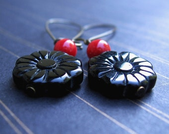 Black & Red Earrings - Obsidian Carved Flower, Red Coral, Brass Long Hoops - by We Are 1