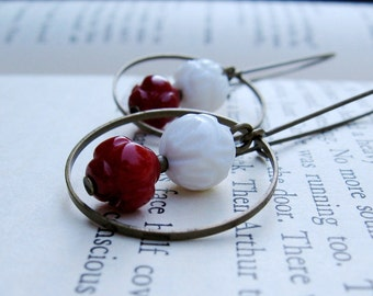 Red & White Earrings - White Carved Shell Beads, Red Coral Lantern Beads, Brass Rings and Long Brass Hoops - by We Are 1