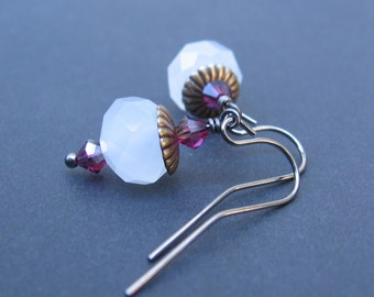 Opaque/Frosted White Earrings - White Nebula Glass, Fuchsia Swarovski Crystals, Fluted Vintage Brass Caps, Gunmetal Hooks - by We Are 1