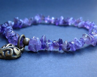 Chakra Energy Bracelet - Polished Amethyst Chips, Brass Heart Charm - by We Are 1