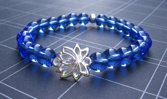 Chakra Energy Bracelet - Blue Quartz & Silver Lotus - by We Are 1