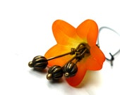 Orange Lucite Earrings - Hand Dyed Flowers, Ombre