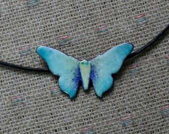 Enameled butterfly choker / Copper Enamel Butterfly Necklace / Enameled Jewelry / Butterfly Jewellery