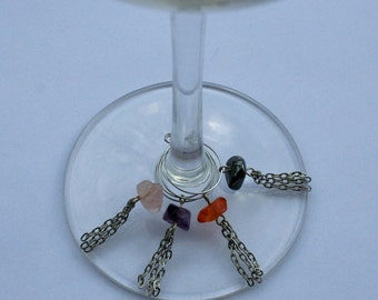 Stone and Chain wine charms / home decor / kitchen gift / steampunk