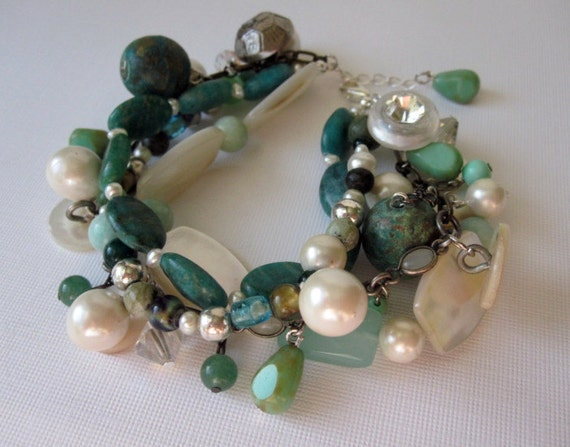 Luck of the Irish Green Strand Mother of Pearl Bracelet Bangle