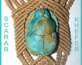 RESERVED for Michail Grekas: Handmade Vintage Macramé & Turquoise Necklace with Pharaonic Scarab 1970s