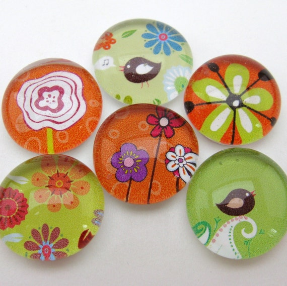 Two Tweet Among the Flowers - set of six magnets