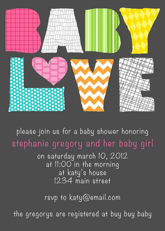 Baby Love Modern Baby Shower Invitation - Girl or Boy