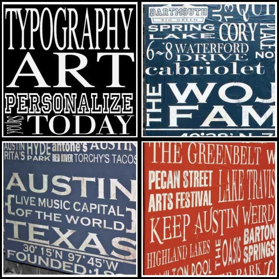 """Personalized Typography Art - Small Rectangle (12""""W x 24""""H x 2""""D)"""