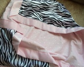 Super Soft Chenille and Fancy Satin Baby Blanket - Baby Pink n Zebra