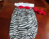 Layette Gown Set - Zebra with Red