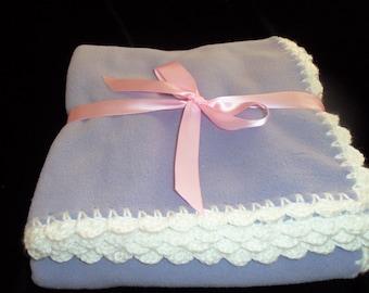 Fleece Baby Blanket with Crochet Edge - Purple and White